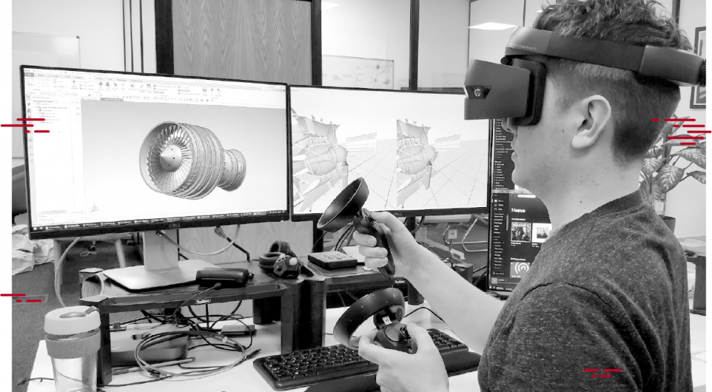 Designer Using VR Headset