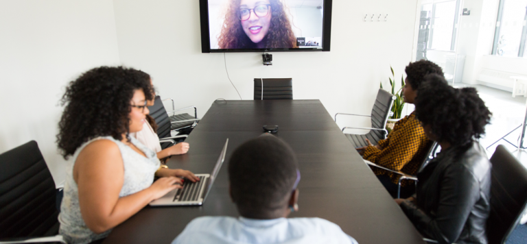 people in a remote meeting